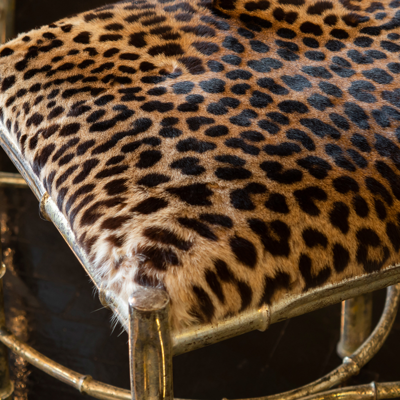 1960s Italian Pair of Brass Bamboo Chairs with Leopard Skin