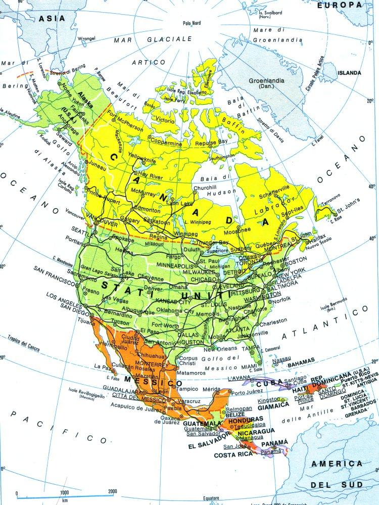 Cartina Fisica Del Nord America.North America
