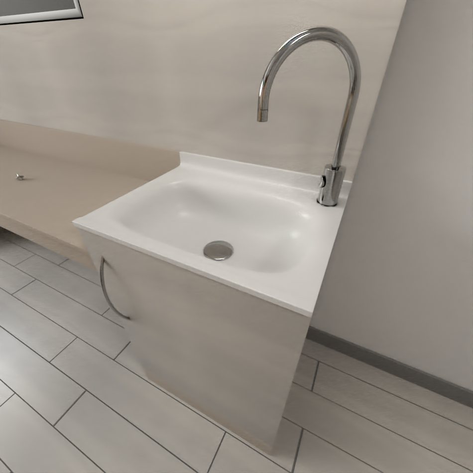 Staff conformed washbasin with integrated cabinet