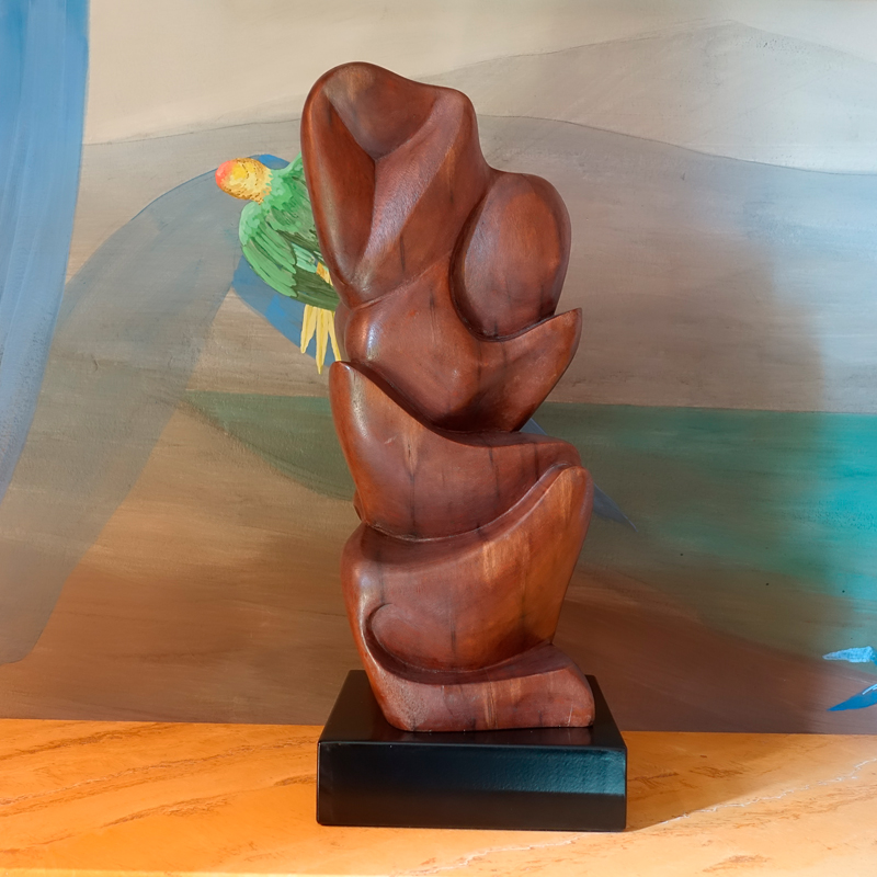 1960s Carved Wood Abstract Sculpture, France