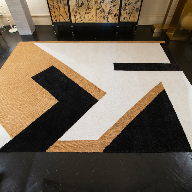 One of a Kind Black Ivory Ocra Geometrical Carpet