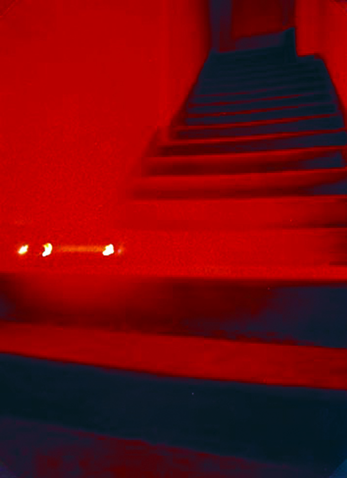 at Unimedia Gallery Genua, black lavagna staircase, red neon, sound by A. Pizzin