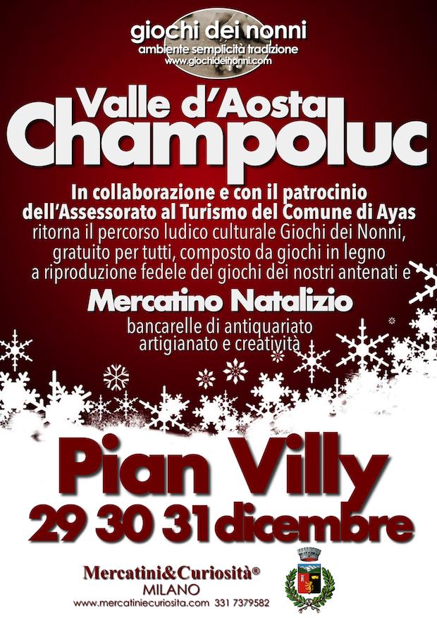 percorso ludico culturale di giochi in legno giochi dei nonni mercatino di natale delle curiosità artigianato collezionismo ingegno valle d'Aosta champoluc piazzetta varasc valle d'ayas