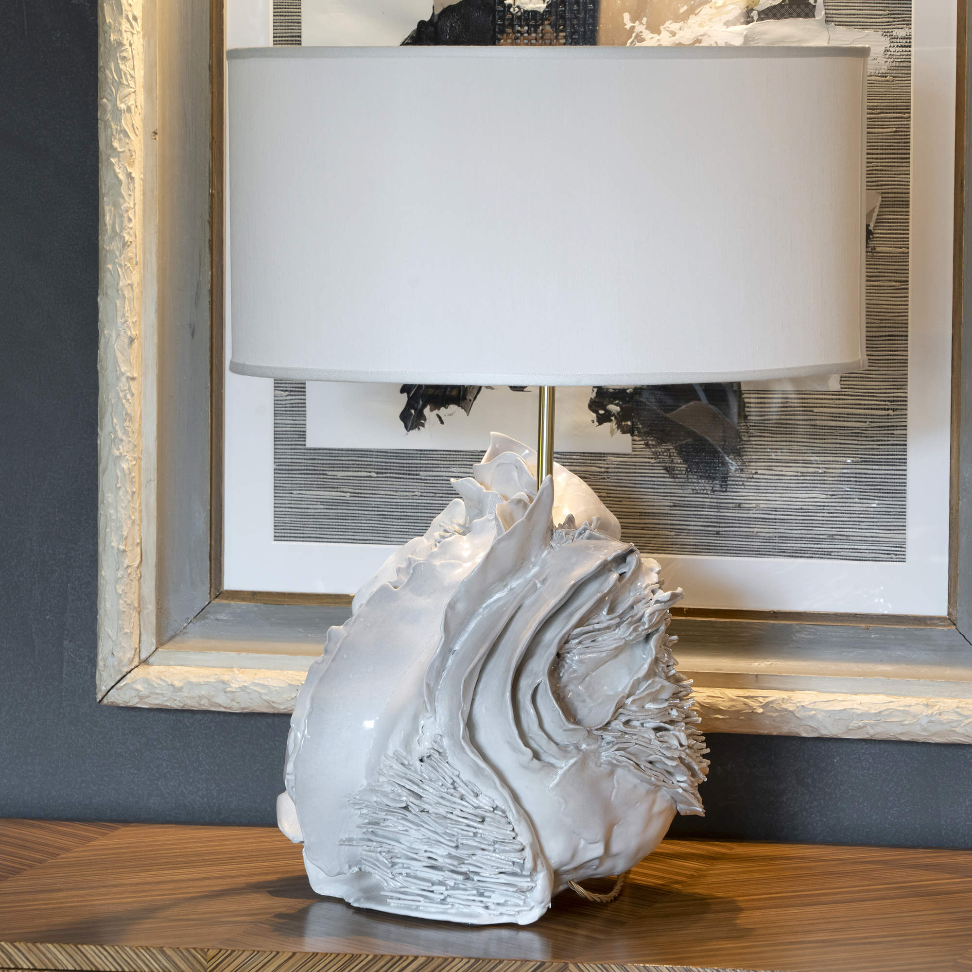 One of a Kind Artistic Ivory Glazed Ceramic Table Lamp, Italy 2020