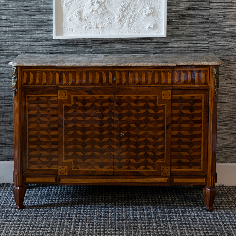Late 19th Century Louis XV Style Marquetry French Credenza