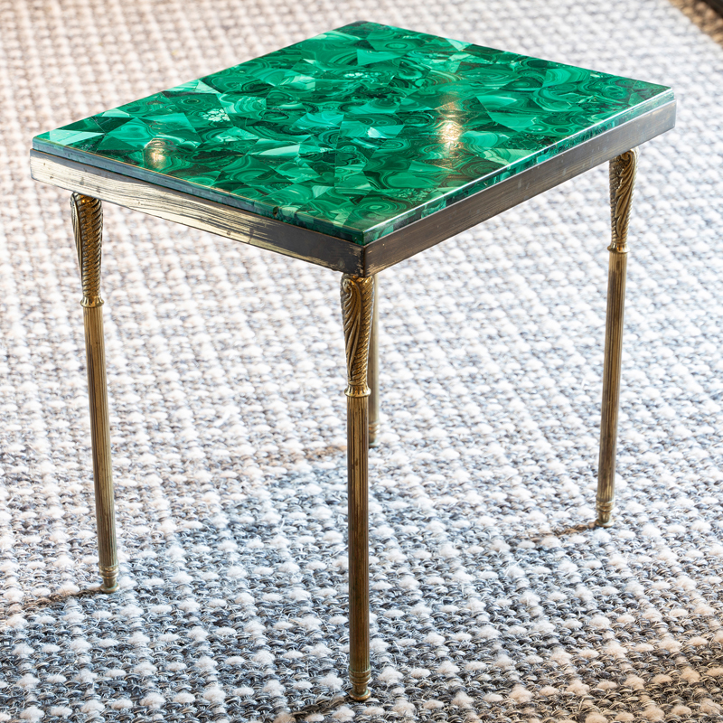 1960s Italian Malachite and Brass Side Table