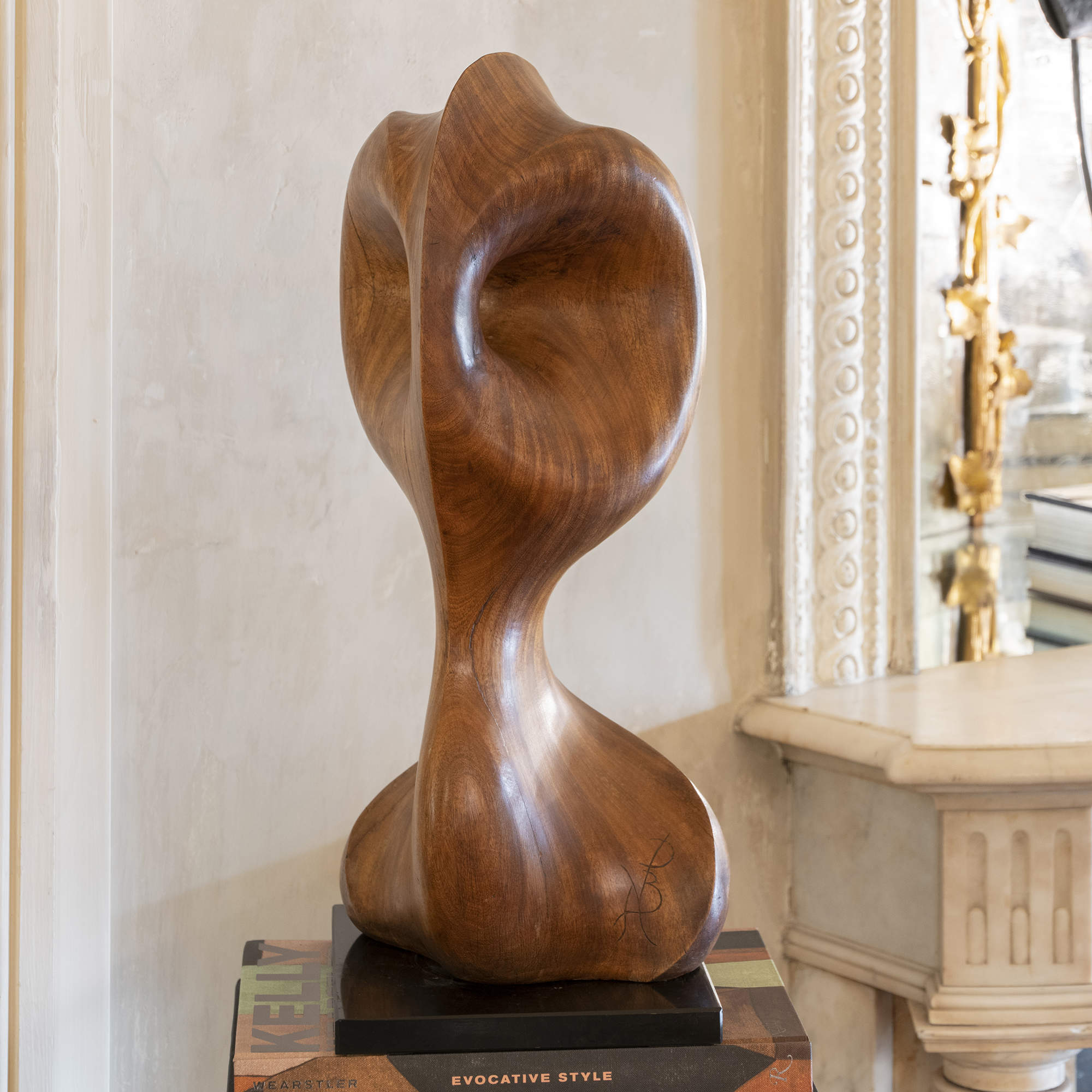 1970s French Carved Wood Abstract Sculpture