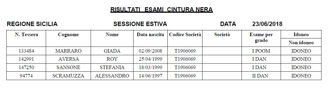 risultati esami Cintura Nera Sicilia team Marraro - Il Drago e la Tigrejpg