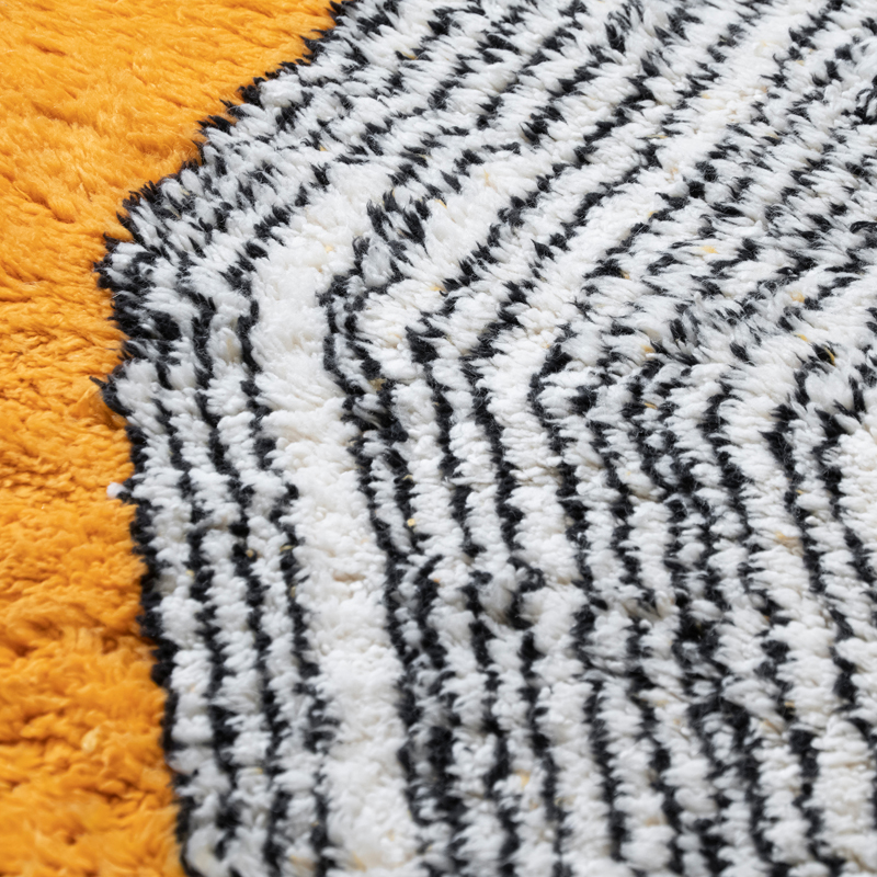 Orange Black and White Wool Contemporary Moroccan Rug