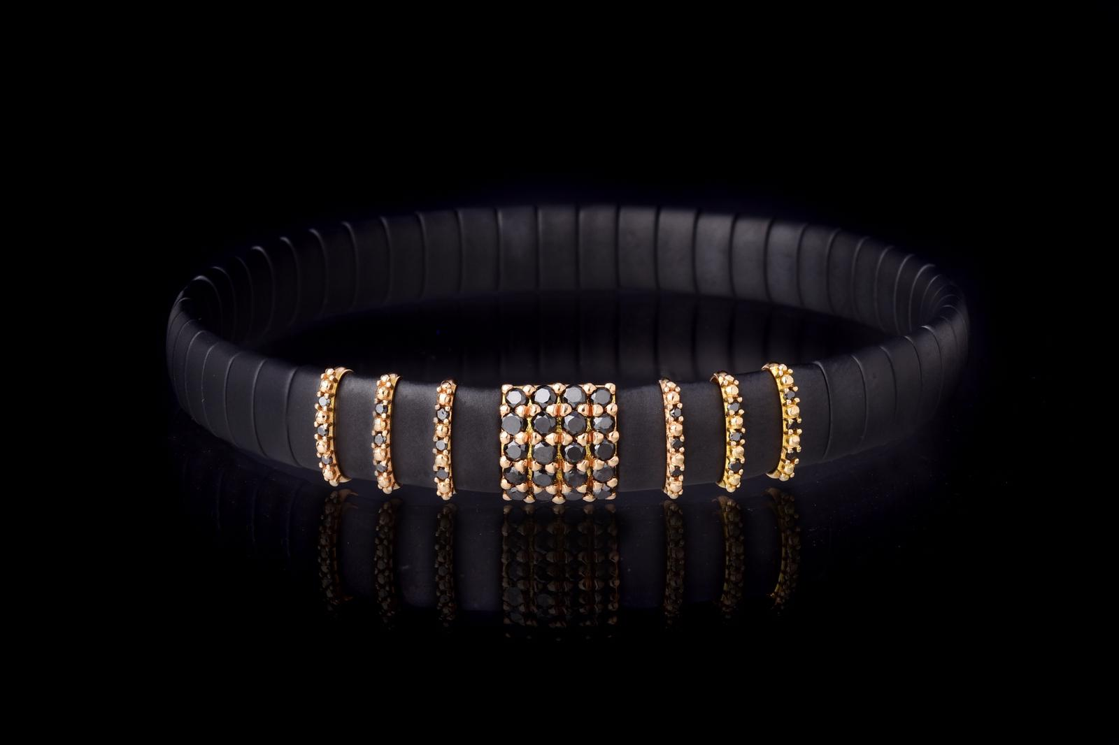 and 6 slim Inserts in Rose Gold 18 Kt and Black Diamonds -DN Ct. 0,14