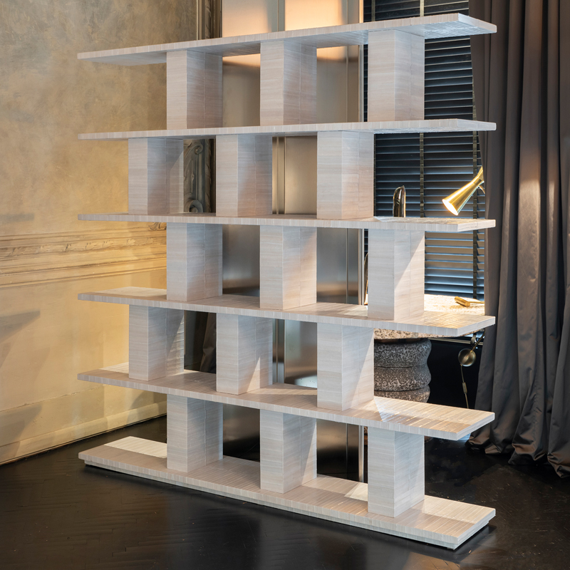Contemporary Ivory Eel Skin Bookcase, Italy 2019