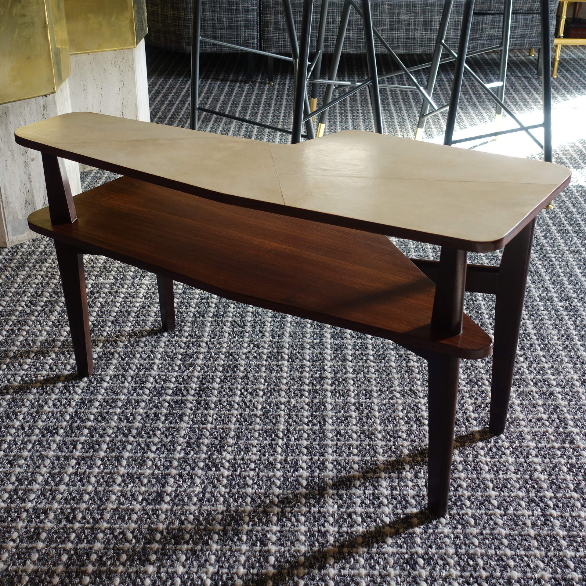 1950s Italian Double Level Side Table in Walnut and Parchment