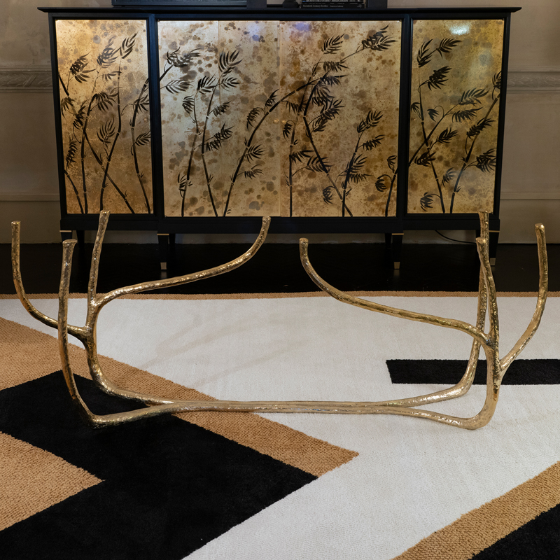 Contemporary Sculptural Gilded Dining Table