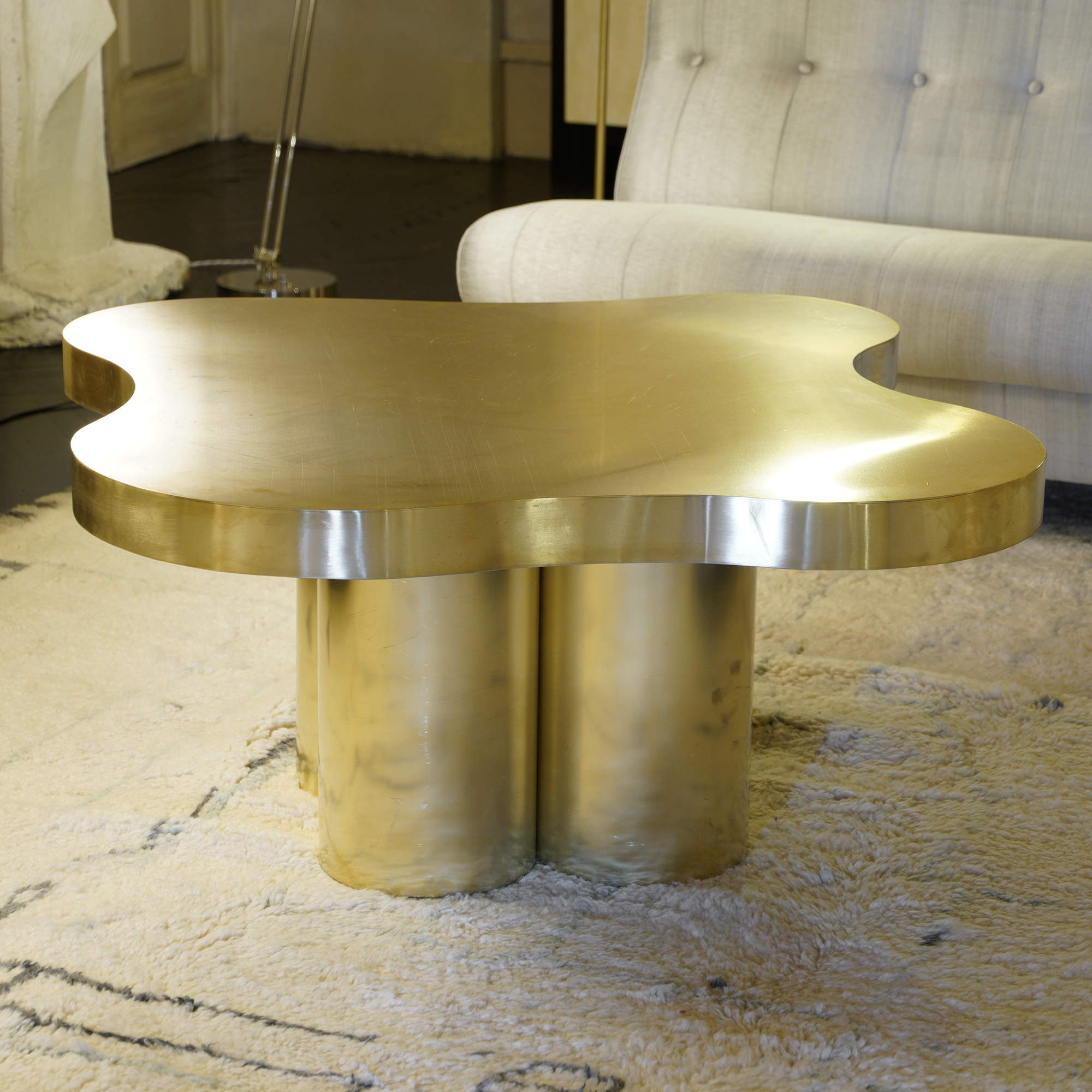 Flair Edition Free-Form High Coffee Table in Natural Brass, Italy 2019