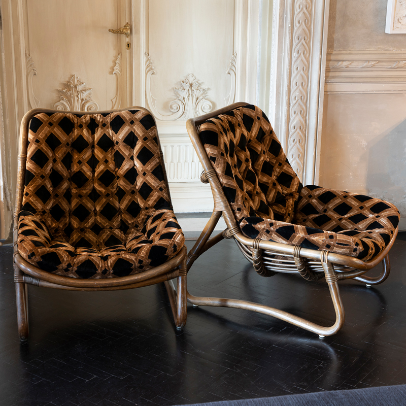1970s Italian Bamboo Pair of Lounge Chairs