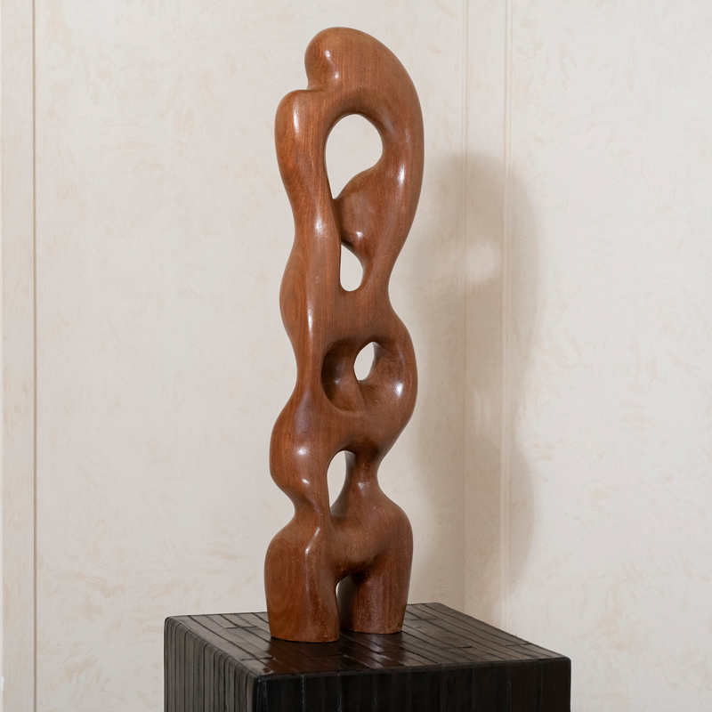 "Abstract Wood Sculpture ""Vania Ete 1975"" by Migliore Vitino, France"