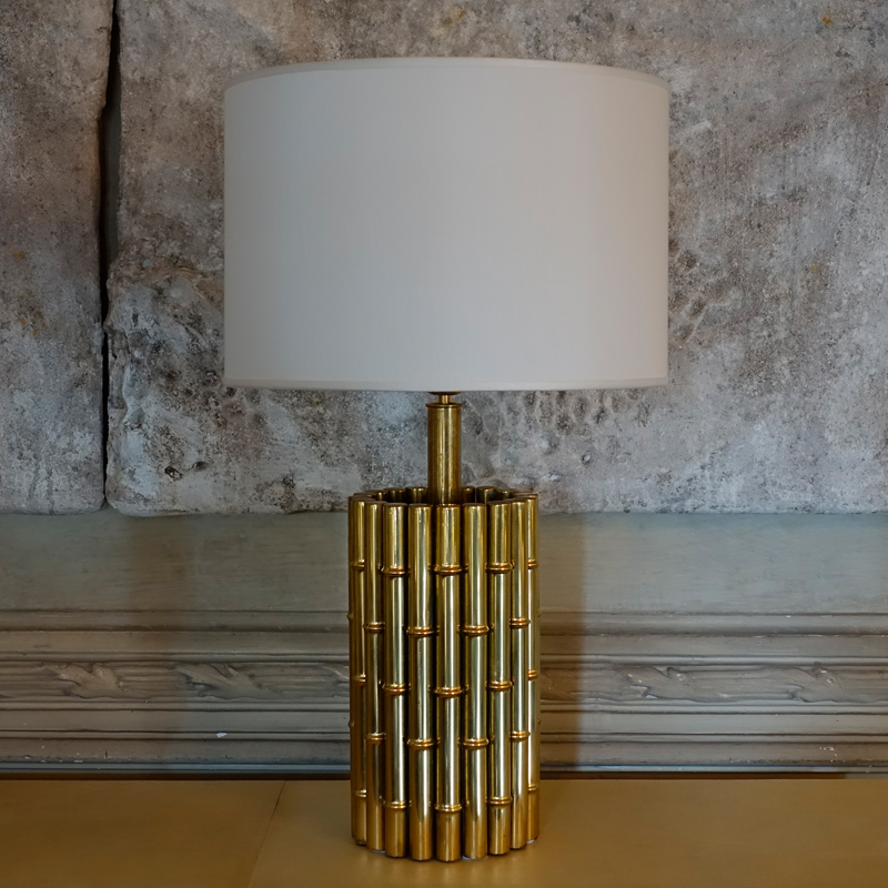 1970s Brass Faux Bamboo Table Lamp, Italy