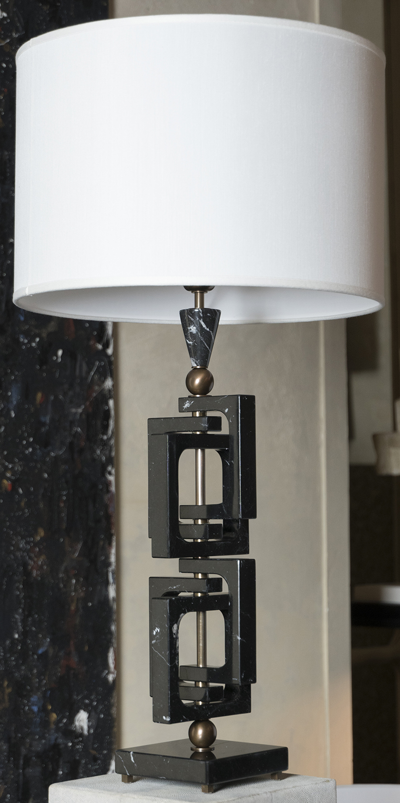 AdHoc Nero Marquinia Marble Table Lamp