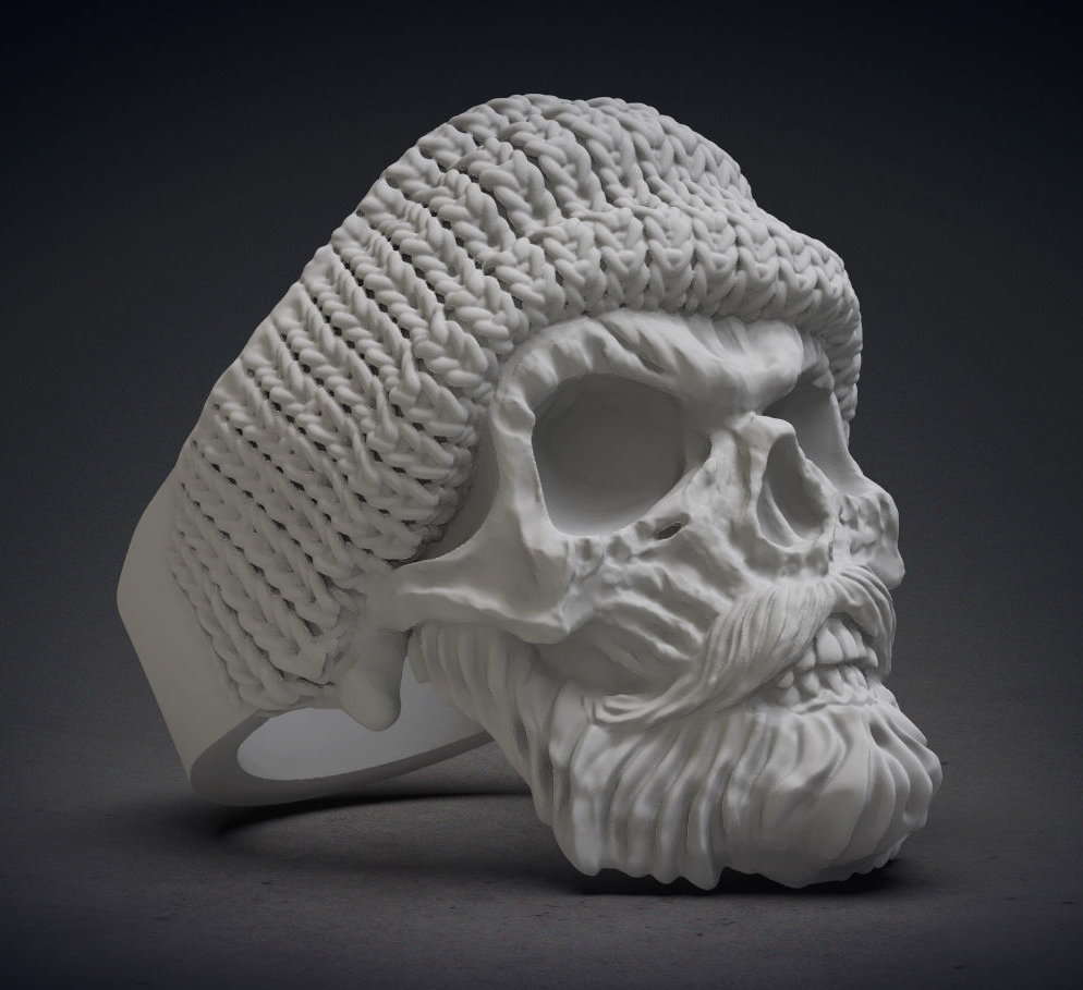 anello skull with beard