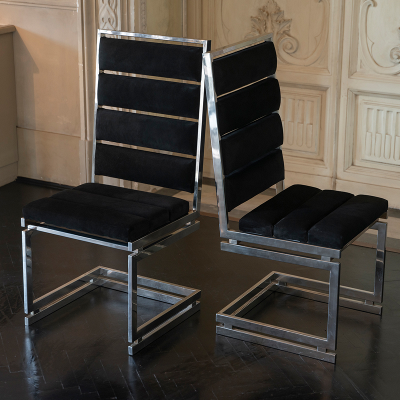 1970s French Chromed Brass Dining Chairs