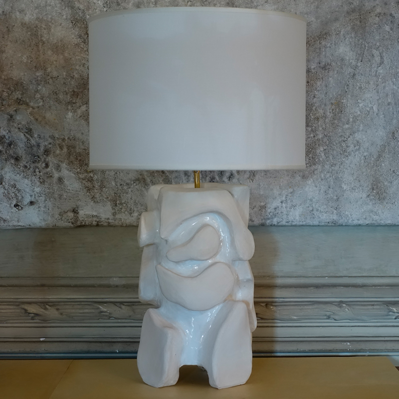 Sculptural White Glazed Table Lamp by Alice Gavalet, France 2020