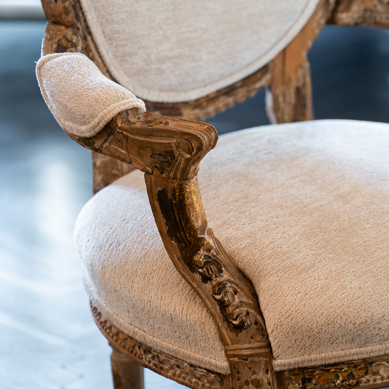 Early 20th Century French Carved Wood Armchair