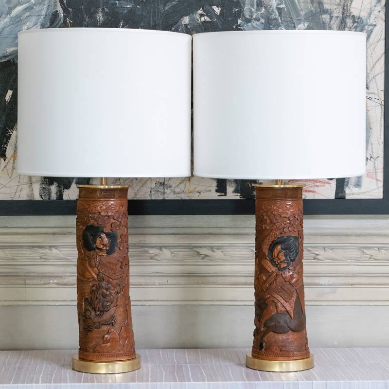 Pair of Mid-20th Century Japanese Wood Lamps
