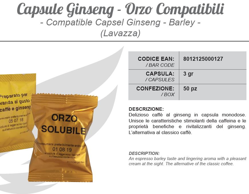 capsule Ginseng - Orzo compatibili 3g (Capsel Ginseng, Barley, Lavazza) 50pz