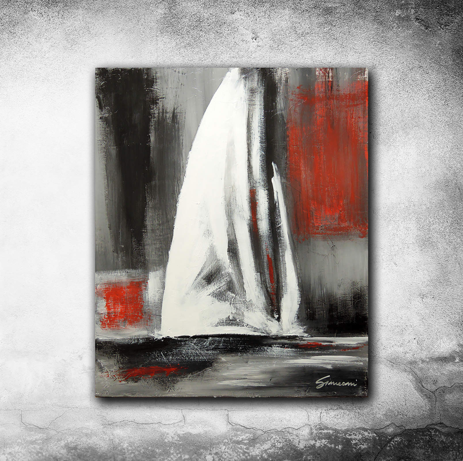 The sail in red - acrylic on canvas - cm 60x50