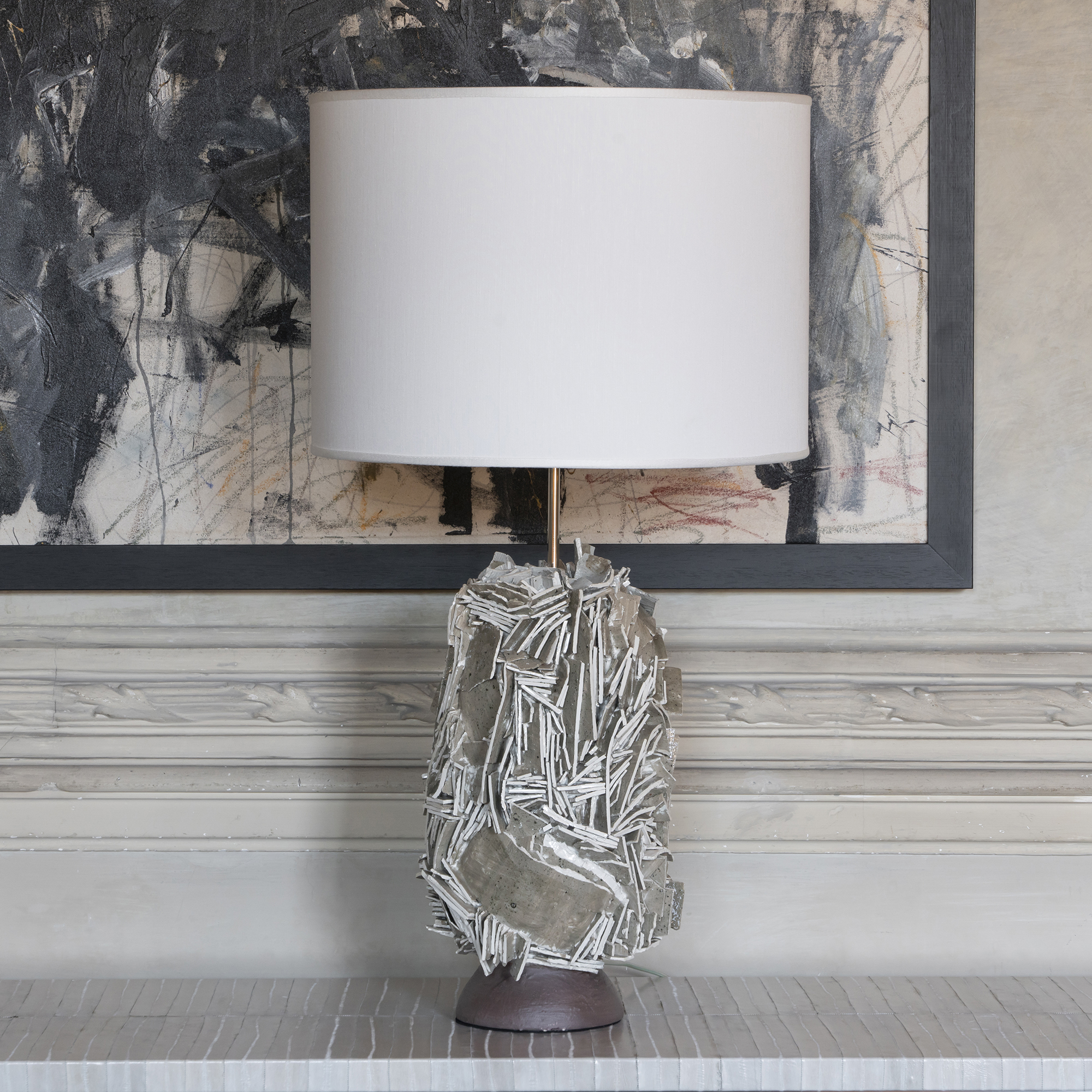 Artistic Taupe Glazed And Raw Ceramic Table Lamp, Italy 2020