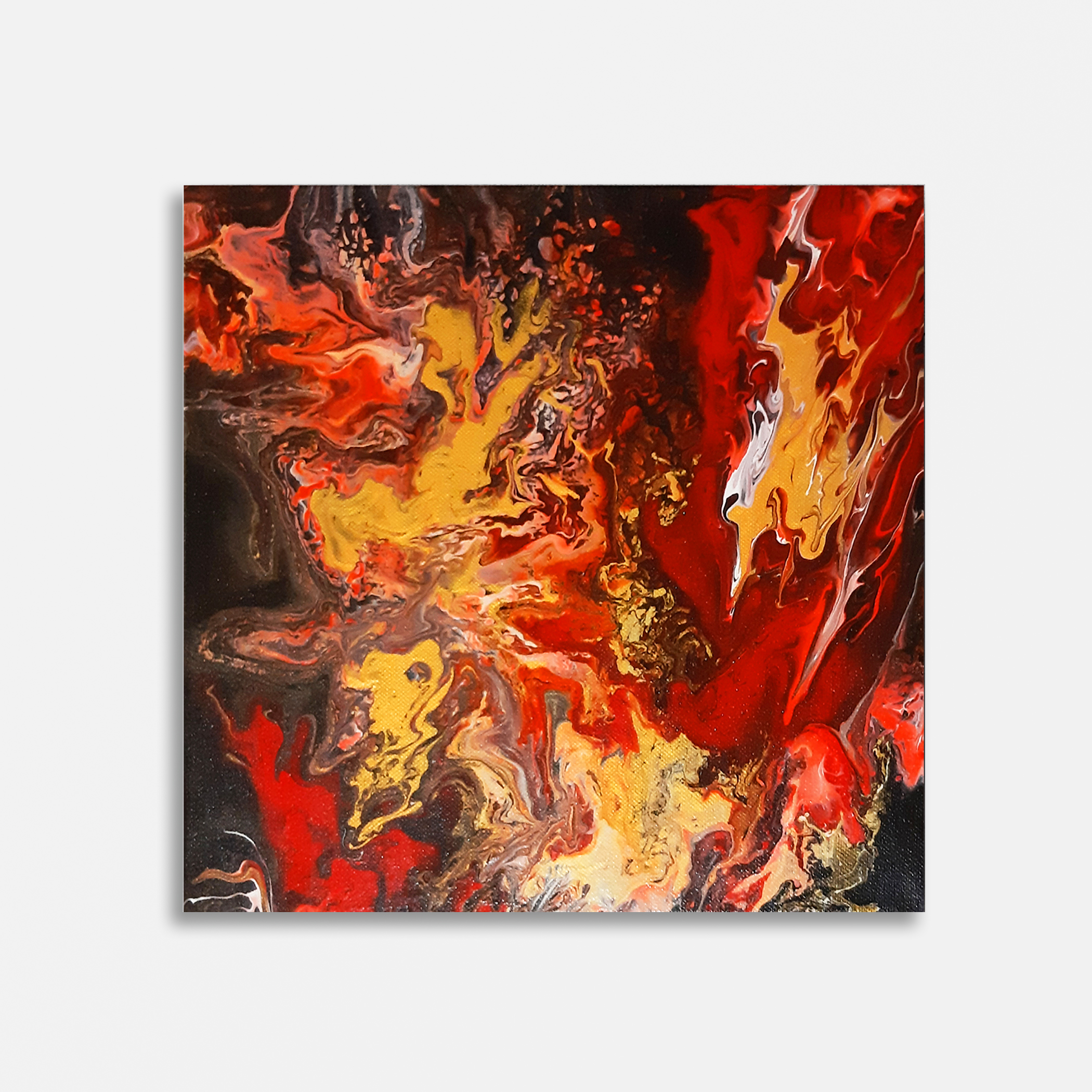 """Night fire"", acrilico su tela, 30x30 cm."