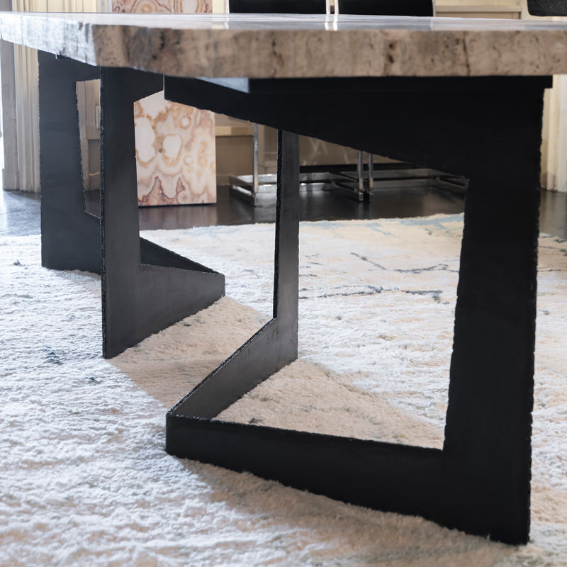 Flair Edition Sculptural Travertine Table
