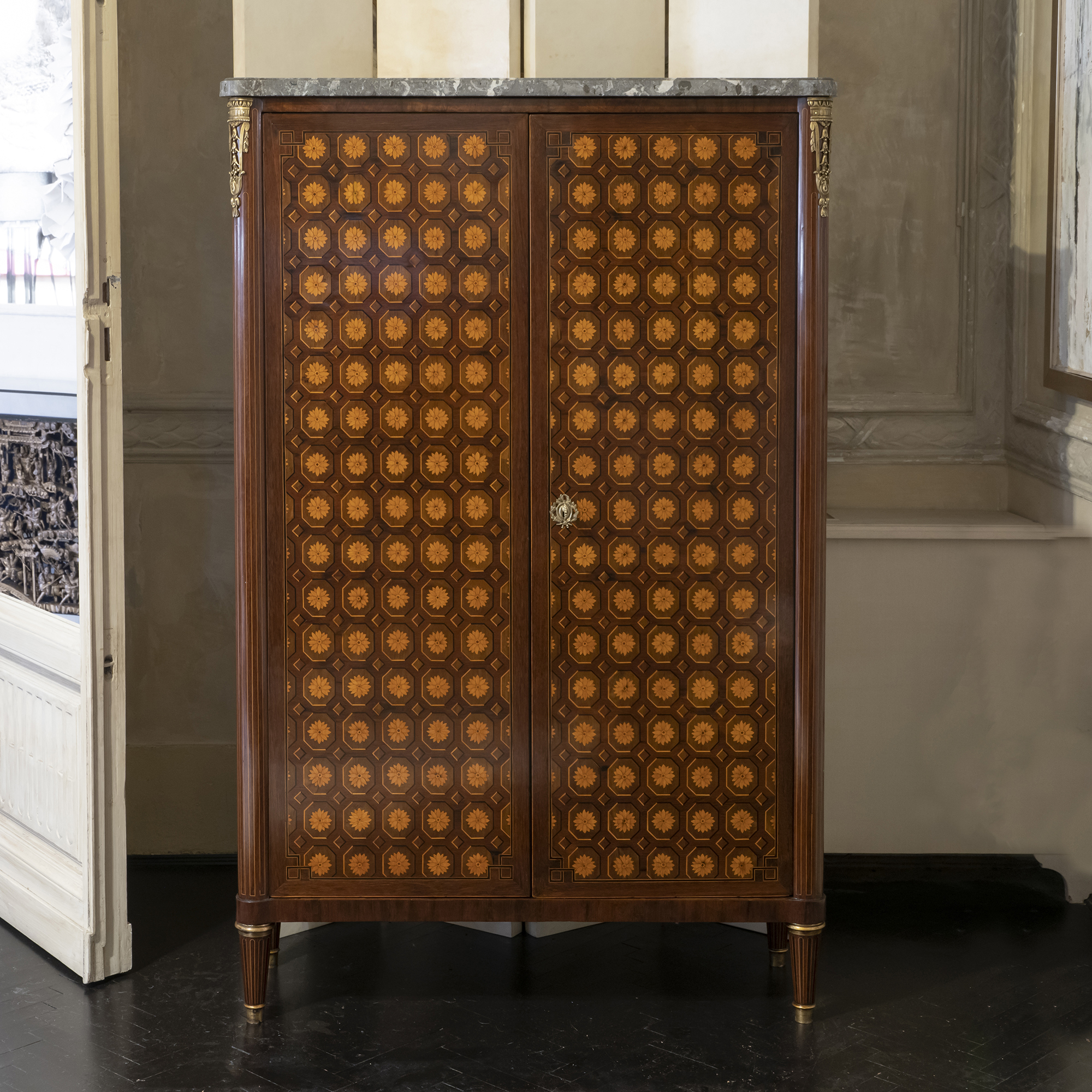 Early 19th Century French Marquetry Tall Cabinet