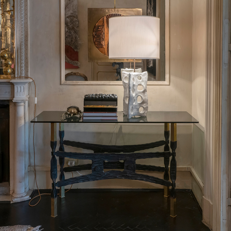 Fer Forgé and Brass Console, France, 1940s