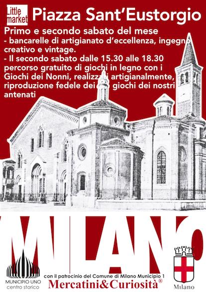 mercatino bancarelle piazza sant'eustorgio milano centro storico percorso ludico culturale giochi de nonni primo secondo sabato