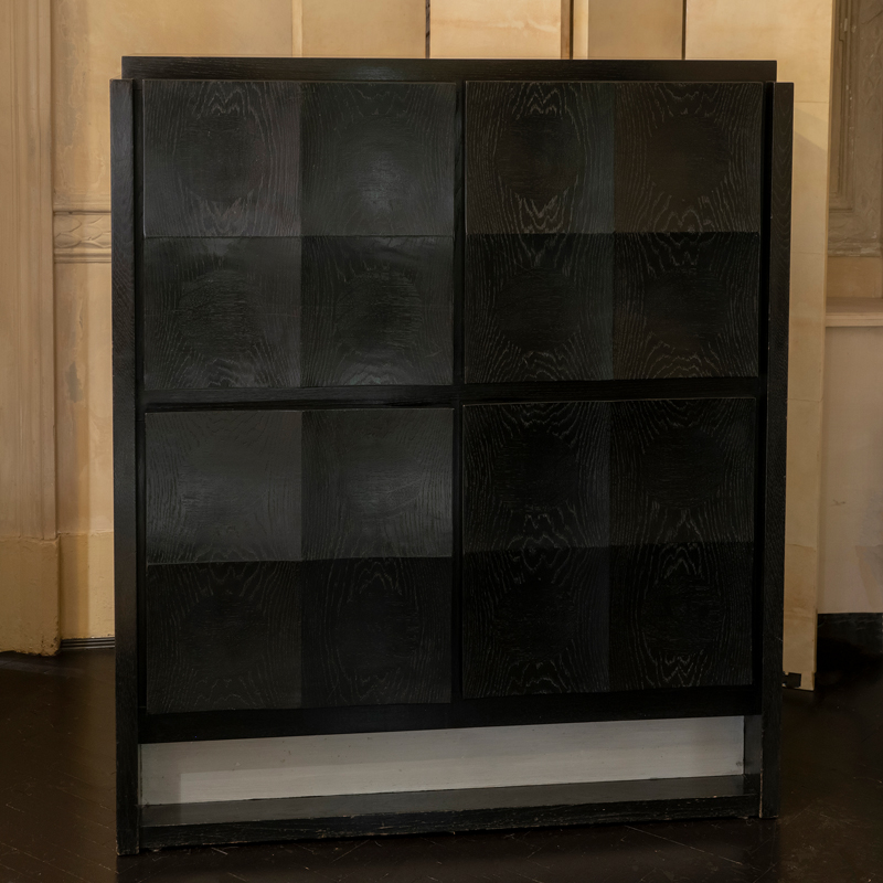 1970s Belgian Black Ebonized Tall Oak Cabinet