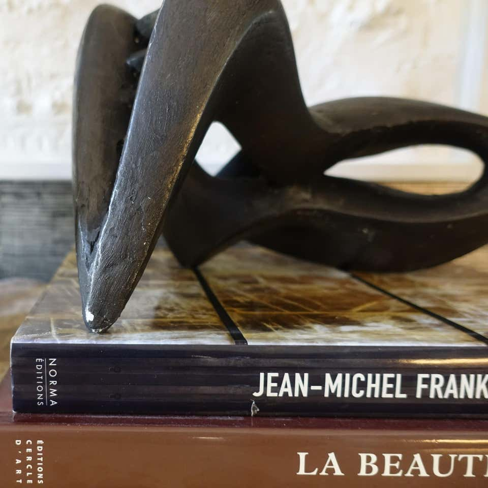 1960s French Black Plaster Abstract Sculpture