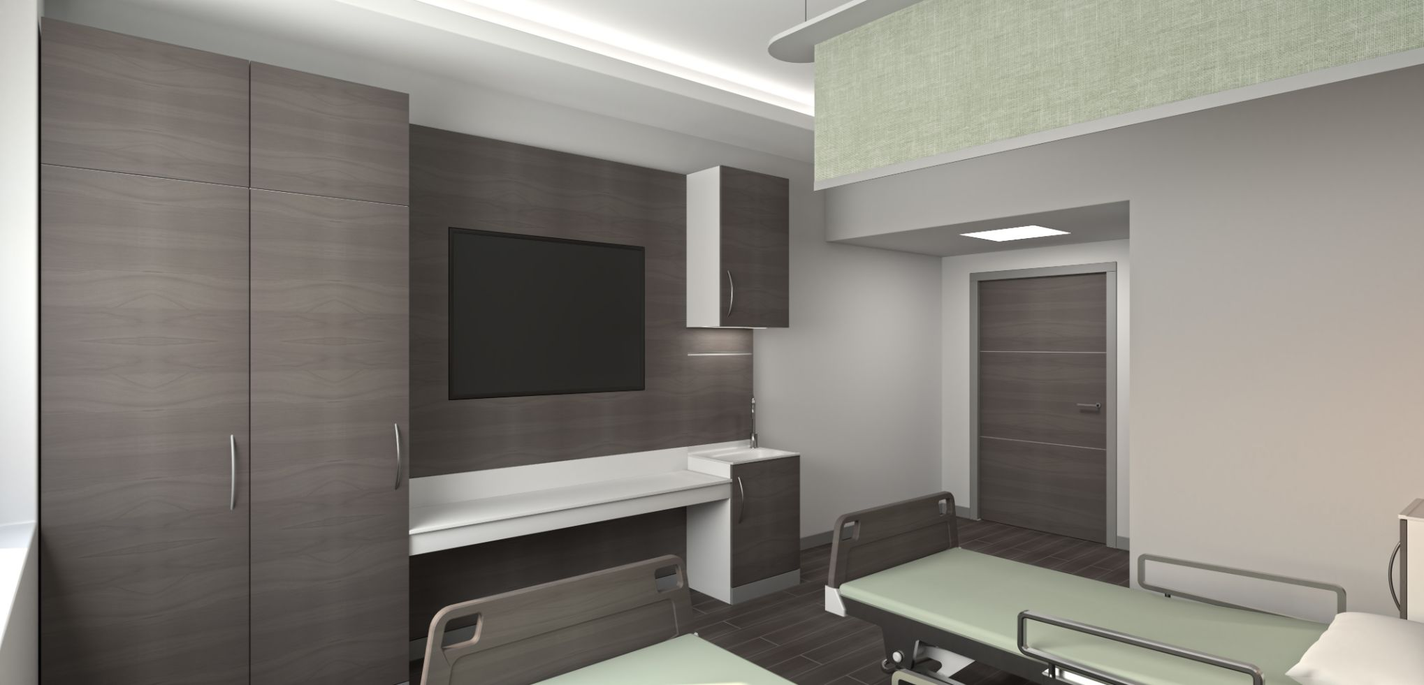 Patient room integrated cabinet partition