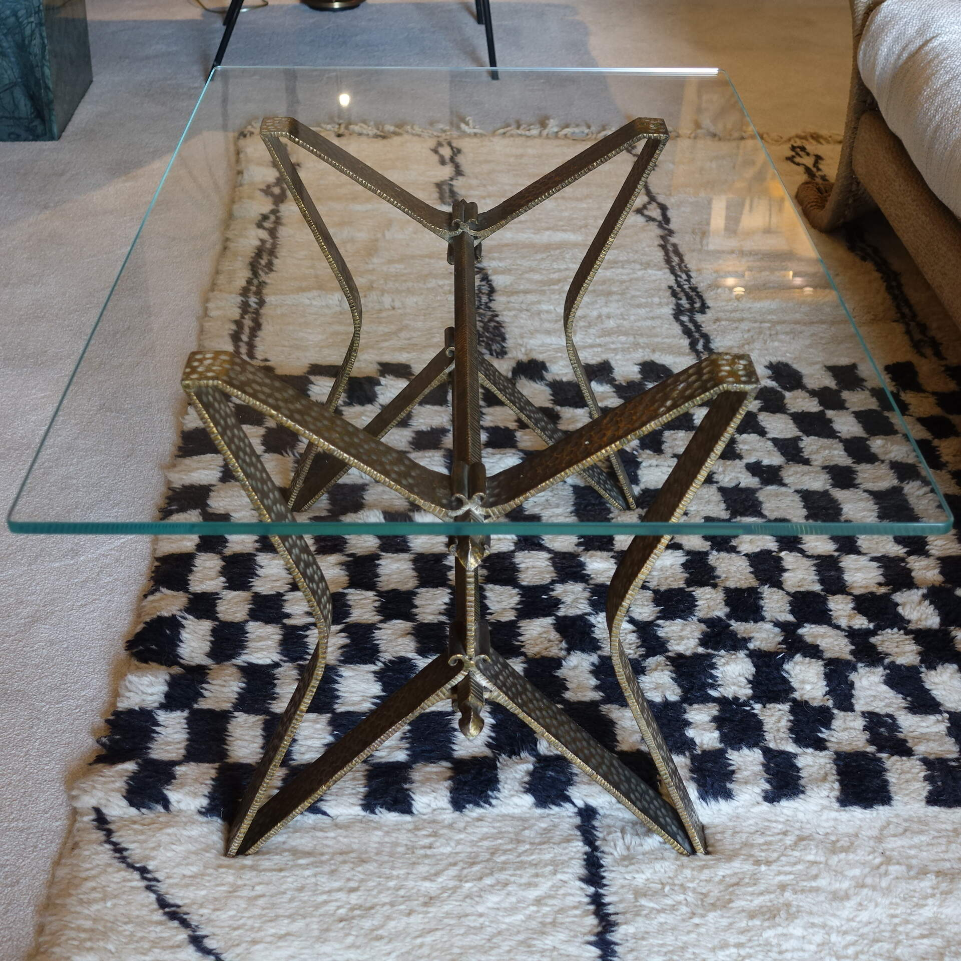 1950s Italian Hammered Brass Coffee Table