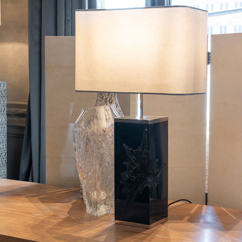 1970s Italian Sculptural Black Resin Table Lamp