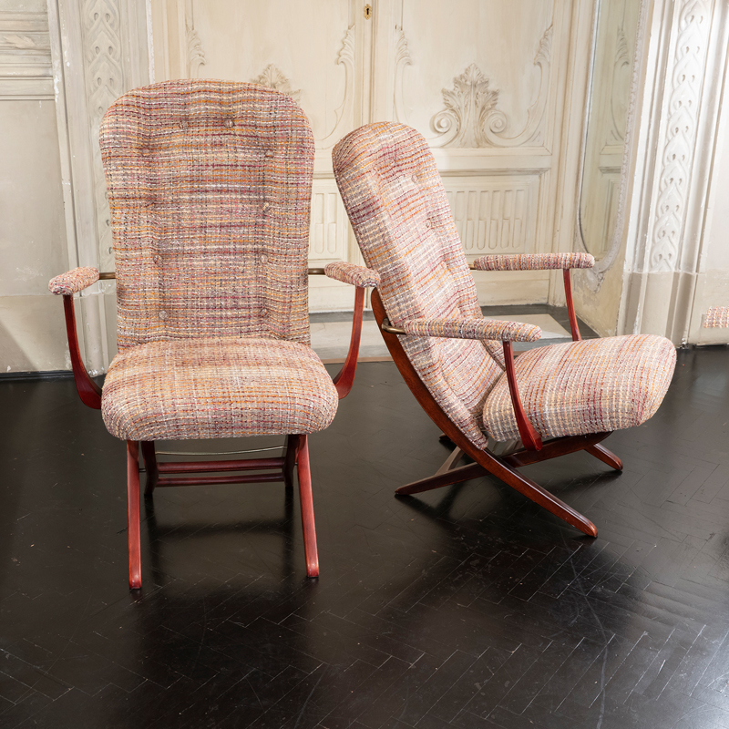 1960s French Mahogany Reclining Armchairs