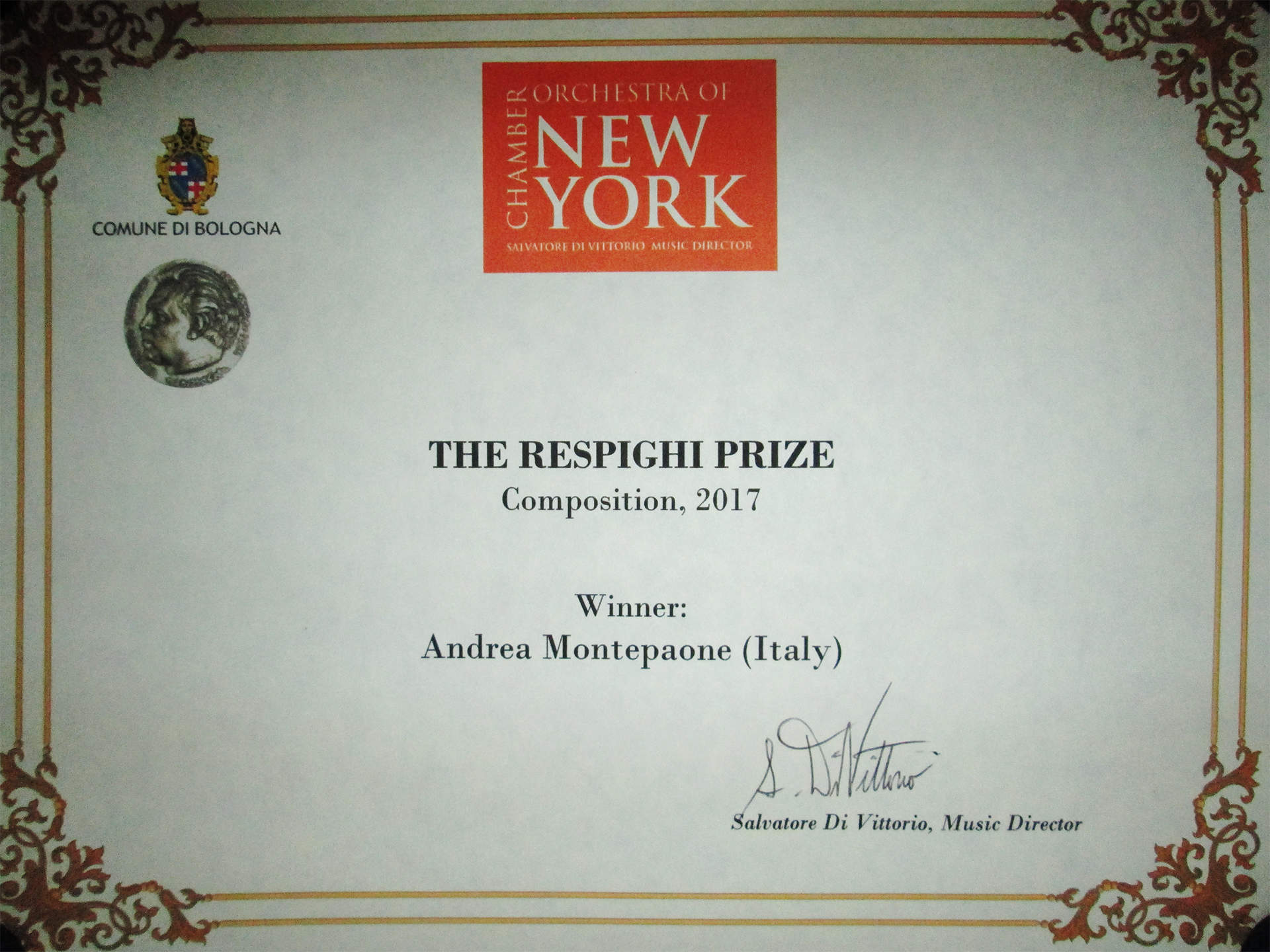 Andrea Montepaone - The Respighi Prize 2017  (New York, Carnegie Hall, 6 giugno 2019)