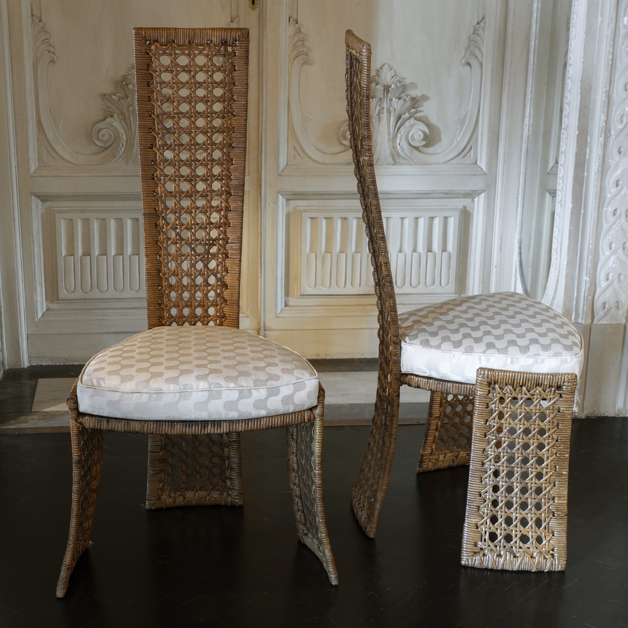 1980s Marzio Cecchi for Studio Most Rattan Chairs, Italy