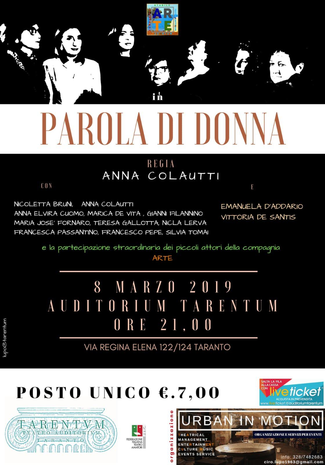 "8 marzo: ""Parola di donna"" all'Auditorium Tarentum"