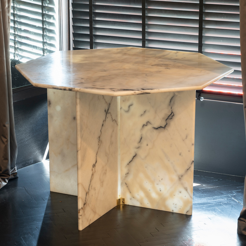 1970s Octagonal Arabescato Cervaiole Marble Table
