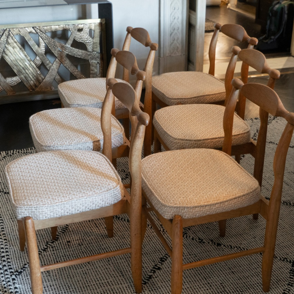 Set of Six Midcentury Oak Dining Chairs, Guillerme & Chambron France, circa 1960