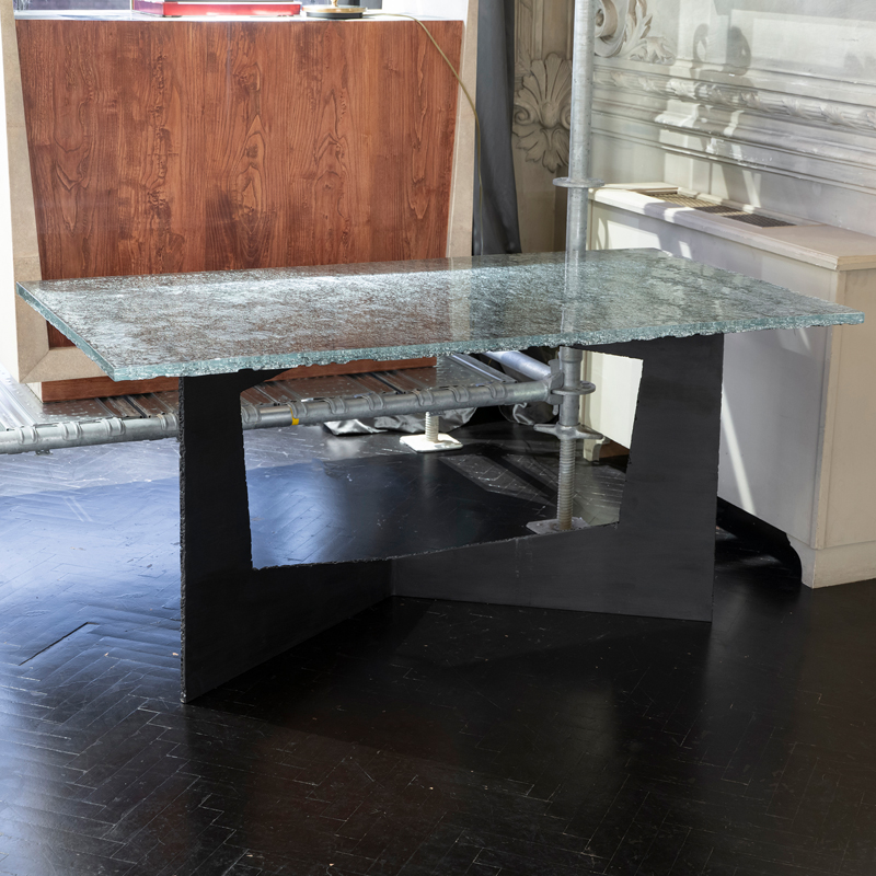 Flair Edition Contemporary Desk, Steel Base and Art Glass Top, Italy 2019