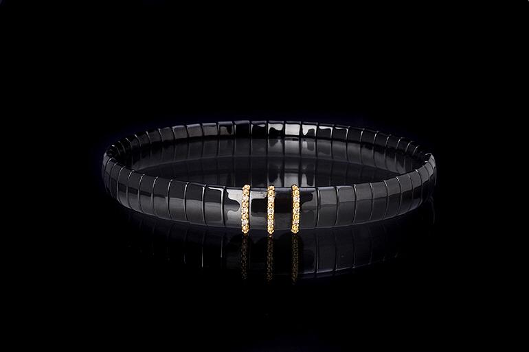 BCNR3DB Black Ceramic Bracelet With 3 Inserts