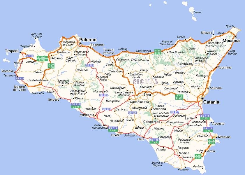 Cartina Sicilia Con Tutti I Comuni.Sicilia In Bocca