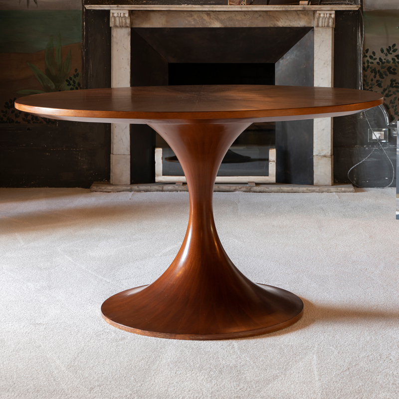 1960s Mid-Century Modern Walnut Round Table